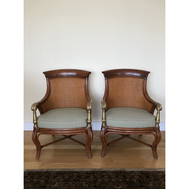 Ethan Allen Wicker Rattan Chairs - a Pair For Sale - Image 13 of 13