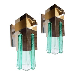 1970s Mid-Century Modern Sciolari Style Green Glass, Brass, Chrome Geometric Sconces - a Pair For Sale