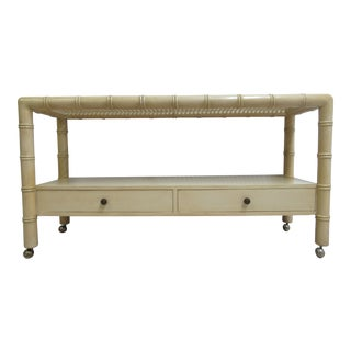 Vintage French Regency Faux Bamboo Sofa Hall Table Console Server Sideboard For Sale
