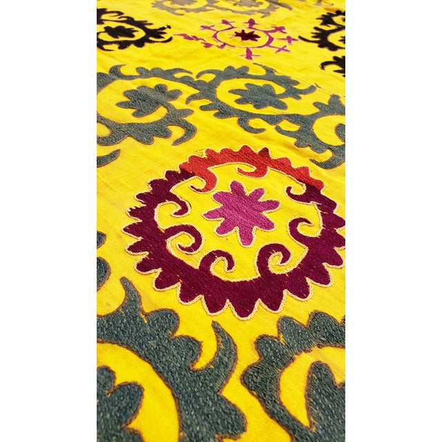 Yellow Late 20th Century Suzani Textile Rug - 6′2″ × 8′2″ For Sale - Image 8 of 9