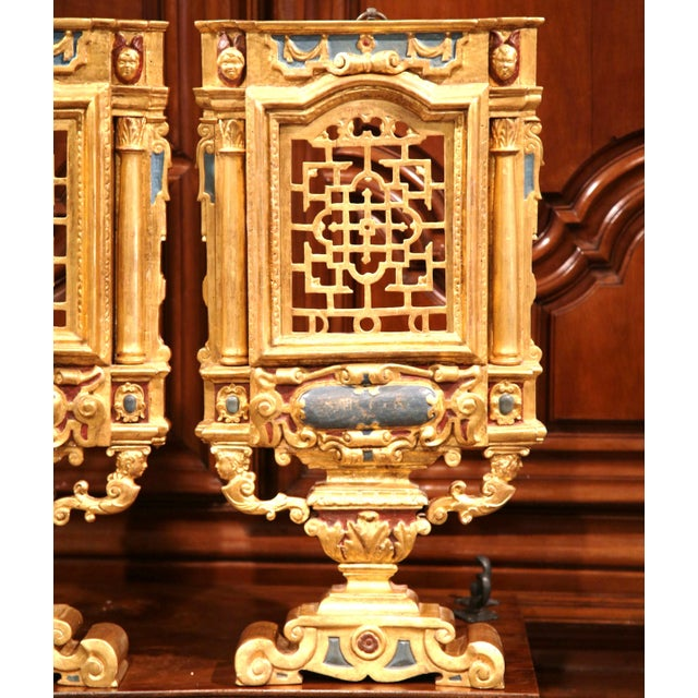 Wood 18th Century Italian Carved Polychrome & Gilt Wall Carvings - A Pair For Sale - Image 7 of 10