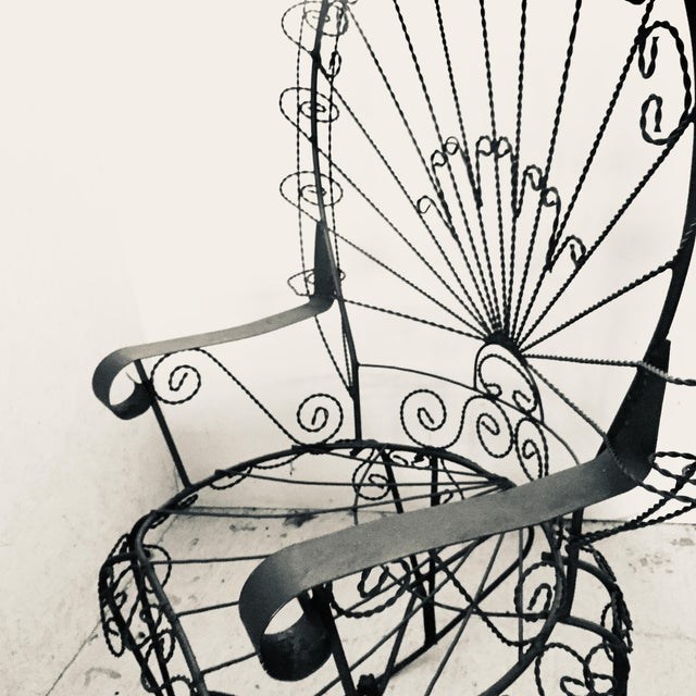 Mid 20th Century Wrought Iron Peacock Rocking Chair For Sale - Image 5 of 11