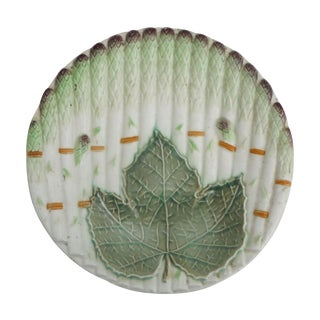 Majolica Asparagus Plate With Leaf Saint Amand, Circa 1930 For Sale