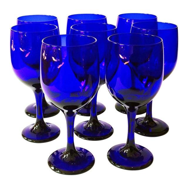 Vintage Cobalt Blue Wine Glasses - Set of 8 - Image 1 of 5