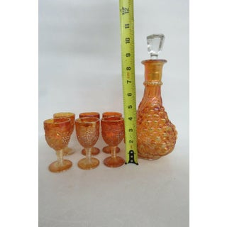 Vintage Imperial Grape Style Marigold Carnival Glass Decanter and 6 Cordial Cups - Set of 7 Preview