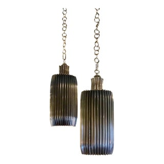 Pair of Global Views Industrial Modern Crimp Pendants