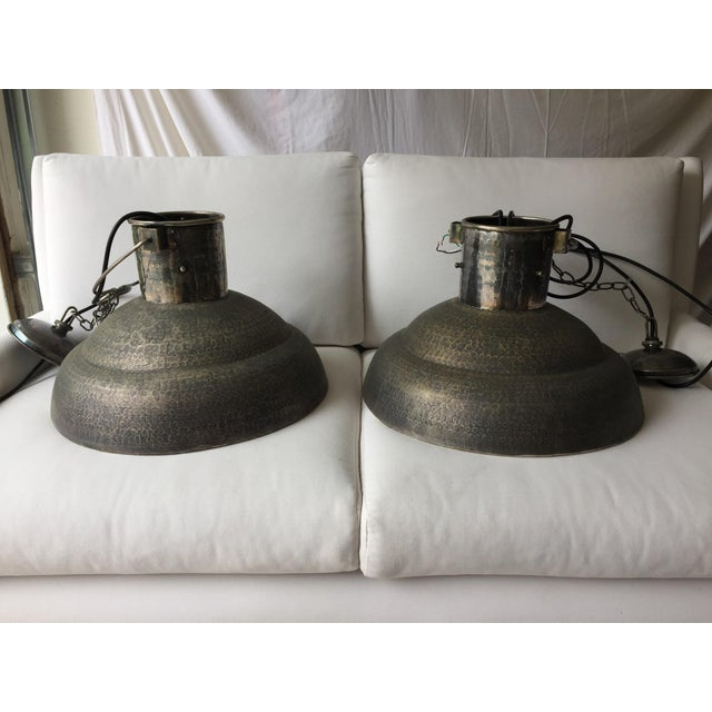 Metal Hammered Chandeliers - A Pair - Image 2 of 4