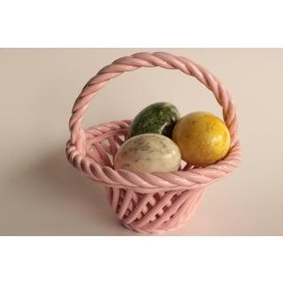 Italian Alabaster Stone Eggs in Ceramic Basket Preview