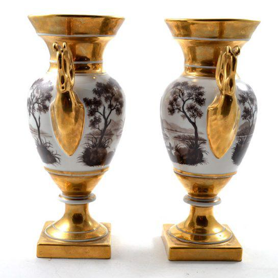 We are selling a lovely Pair of topographical Old Paris Porcelain Vases, large in scale, with Sepia-Tone painted Landscape...