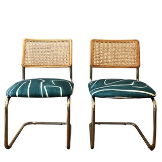 Vintage Mid Century Blue Wearstler Channel Print Cane Back Chairs- a Pair For Sale