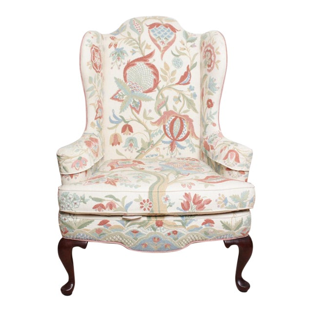 Vintage Woodmark Original Crewel Embroidered Wingback Chair For Sale