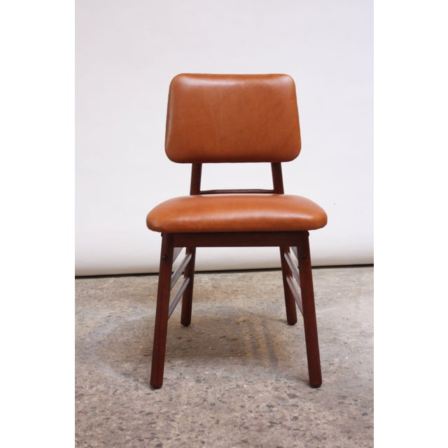1950s Set of Ten Walnut and Leather Dining Chairs by Greta Grossman For Sale - Image 5 of 13