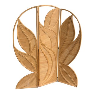 1960s Gabrielle Crespi Style Pencil Reed Palm Leaf Room Divider For Sale