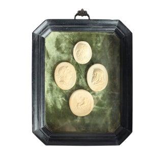 Framed 19th Century Antique English Grand Tour Intaglios on Green Velvet For Sale