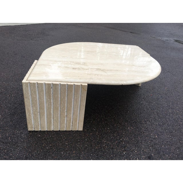 Art Deco 1980's Brutalist Travertine Marble Coffee Table For Sale - Image 3 of 12