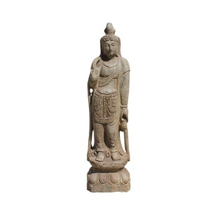 Asian Oriental Stone Carved Standing Kwan Yin Bodhisattva Statue For Sale