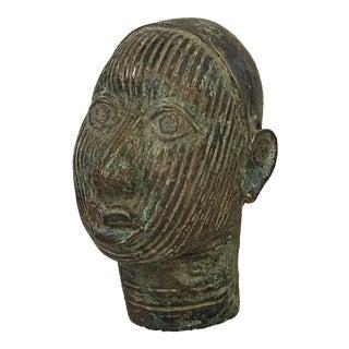 Benin Bronze Head of King Oba Nigeria For Sale