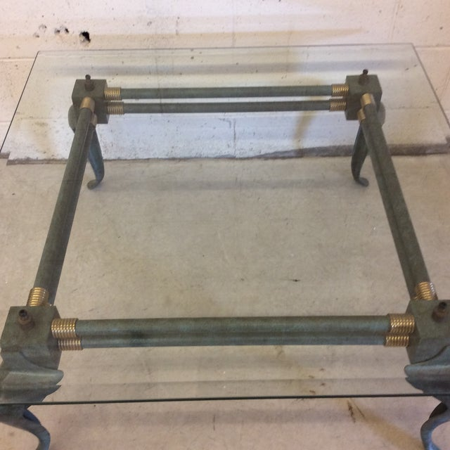 Verdegris Iron Patina and Brass Cabriolet Coffee Table For Sale In Richmond - Image 6 of 10