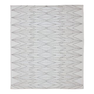 Modern Minimalist Design Flat-Weave Rug in Gray, Taupe and Ivory For Sale
