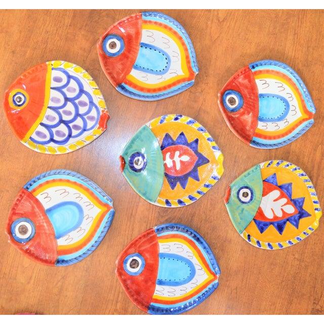 1980s 1980s Boho Chic DeSimone Terra Cotta Fish Plate For Sale - Image 5 of 13