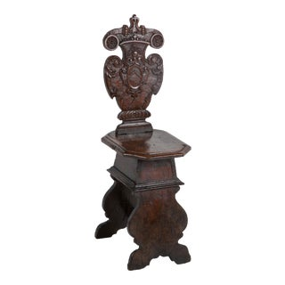 Italian Carved Walnut Sgabello Side Chair For Sale