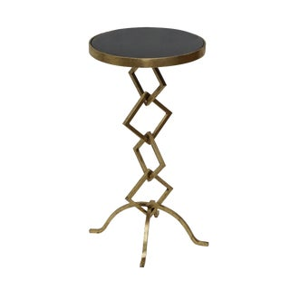 Kelly Accent Side End Table for Living Room, Granite Top, Round Contemporary Style, Unique Design- Gold Leafing For Sale