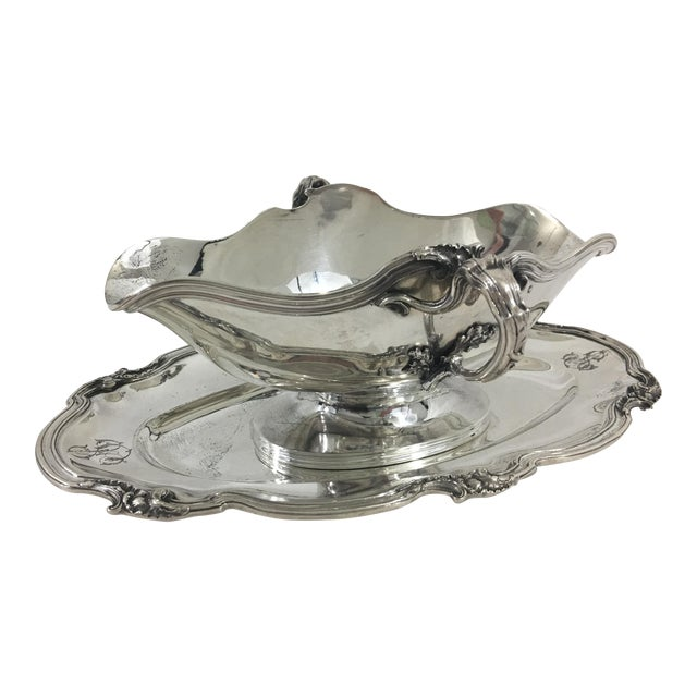 French Sterling Silver Sauce Boat in Francis I Pattern With as Monogram For Sale