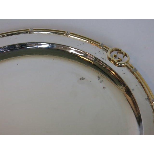 1960s Vintage Gucci Round Silver Plate Tray For Sale - Image 5 of 6
