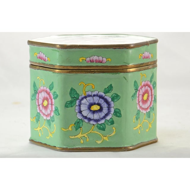 Vintage Chinoiserie hexagonal copper box with hand applied enamel floral enterior in shades of soft jade green, pink,...