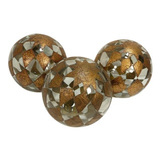 Blown Glass Handpainted Balls - Set of 3