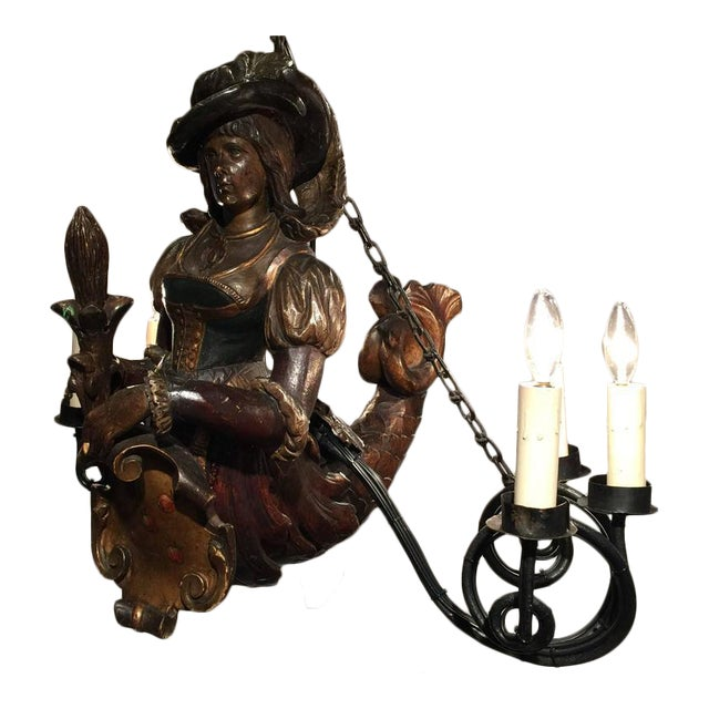 19th Century German Six-Light Lusterweibchen Carved Polychrome Chandelier For Sale