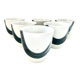Japanese Chinese Asian Ceramic Stoneware Porcelain Ceramic Enso Cups Tea Sake Blue White - Set of 6 For Sale