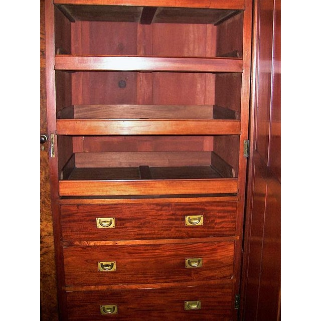 19c British Burl Walnut Breakfront 3 Door Wardrobe With Chest of Drawers For Sale - Image 9 of 13