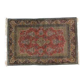 1970s Leon Banilivi Vintage Persian Silk Qum Rug - 3′7″ × 5′6″ For Sale