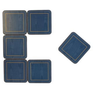 Set of Six English Blue and Gold Cocktail or Drinks Coasters For Sale