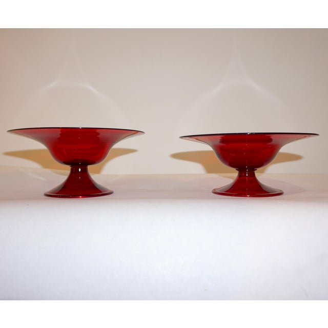 Exquisite Venetian pair of Murano glass tazza dishes, in rich deep crimson red, highest quality of execution: delicately...