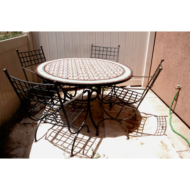 """Moroccan Zellij Red, Green, Yellow and White Mosaic Tile 52"""" Round Table & 4 Wrought Iron Arm Chairs For Sale - Image 9 of 13"""
