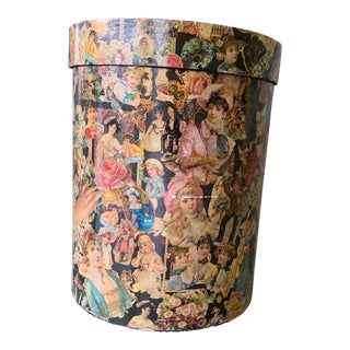 Victorian Ladies' Decoupage Hat Box For Sale
