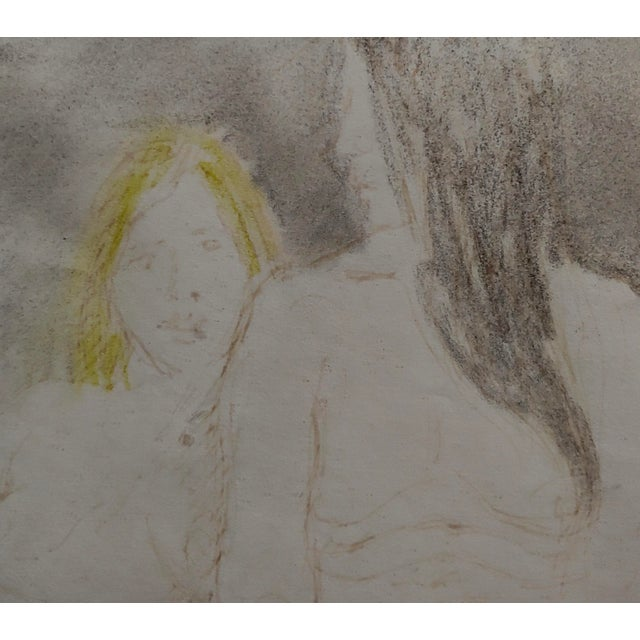 "1940s Raphael Soyer ""Two Women in Bed"" Colored Pencil Drawing For Sale - Image 5 of 9"