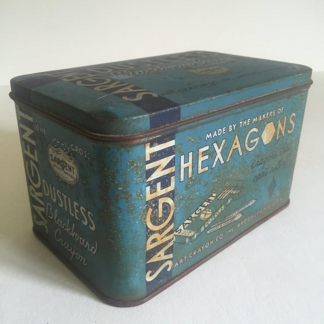This vintage 1930's Sargent Dustless Blackboard Crayons Brooklyn NY metal tin box with attached hinged lid is a very...