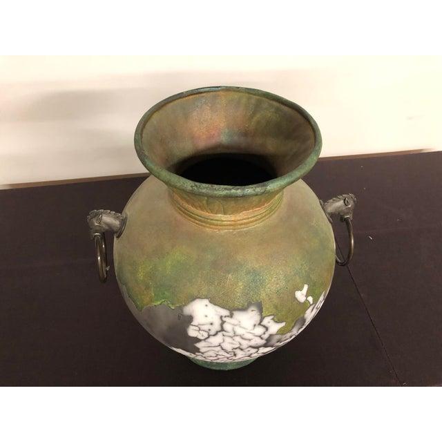 Tony Evans Raku Large Vase With Metal Horse Handles For Sale - Image 10 of 13