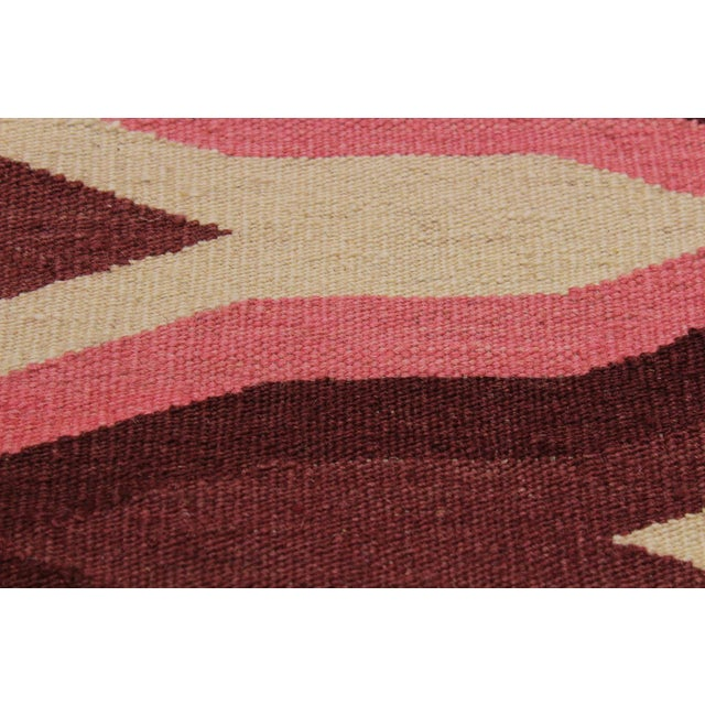 1990s Contemporary Kilim Sallee Red Hand-Woven Wool Rug -3′3″ × 5′ For Sale - Image 5 of 8