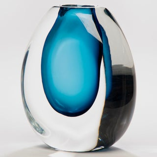 Tall Sommerso Style Blue Art Glass Vase Preview