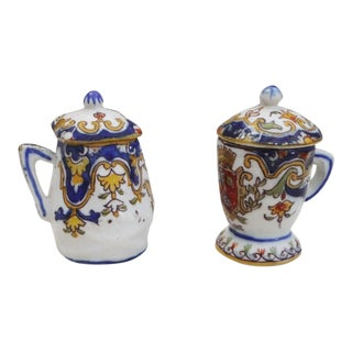 French Faience Mustard Pots - A Pair