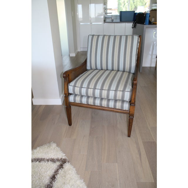 Contemporary Mid-Century Newly Reupholstered Side Chair With Caning For Sale - Image 3 of 6
