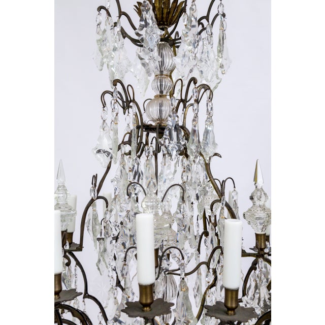 Early 20th Century Multi Crystal 15-Arm Birdcage Chandelier For Sale - Image 12 of 13