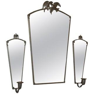 Vintage Swedish Pewter Eagle Mirror and Sconces by Svenskt Tenn For Sale