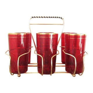 1960s Vintage Ruby Glassware and Caddy Set- 7 Pieces For Sale