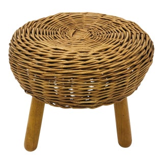 Vintage Woven Wicker Footstool by Tony Paul For Sale