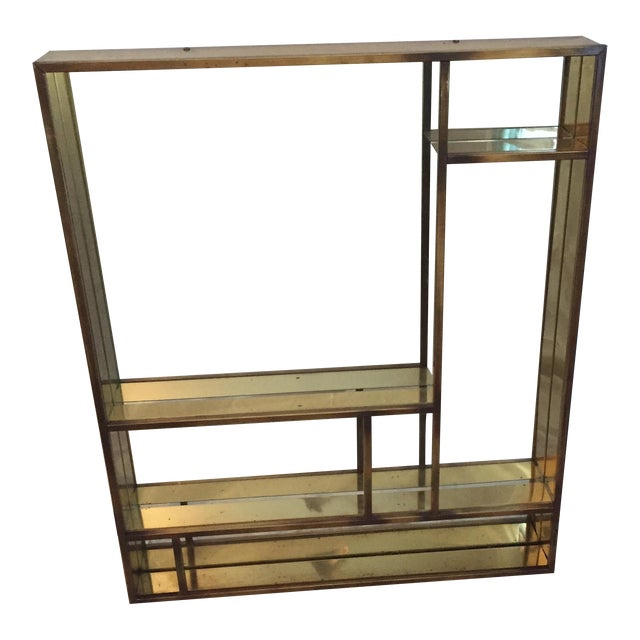 Signed Curtis Jere Brass Mirrored Shelf - Image 1 of 5
